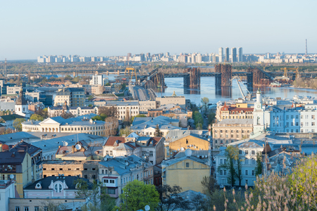 dnieper: Panoramic view of historic district Podol by the Dnieper river, Kiev, Ukraine