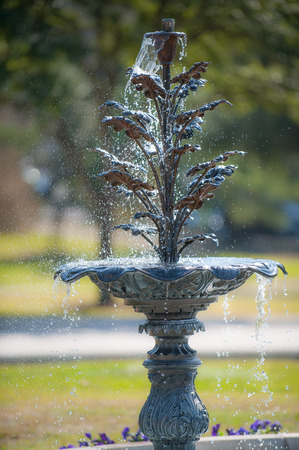 Water fountain in lush gardens of State Capitol complex in Austin, TX Stock Photo