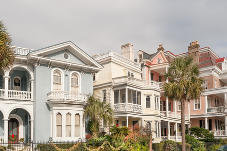 southern: Historic pastel-colored mansions along Battery st in Charleston, SC