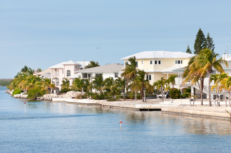 floridian: Waterfront villas on one of the island of Florida Keys, USA