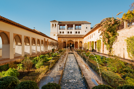 Courtyard and fountains of Generalife palace in Alhambra, Granada Stok Fotoğraf - 74552935