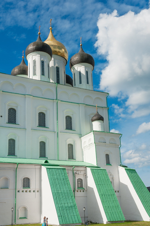 bastion: Medieval Trinity cathedral, main landmark in Pskov Kremlin, Russia