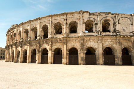 Arena of Nimes, Roman Empire landmark in Nimes city of Occitanie region, France