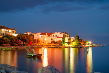 Nighttime view of Simuni village on Pag island, Croatia Imagens