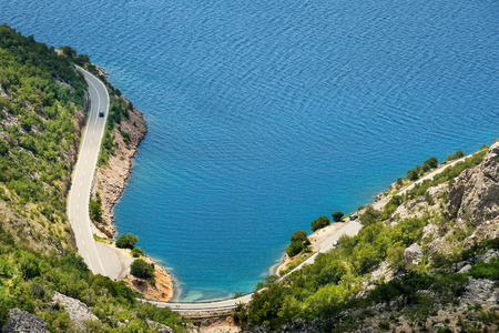 Scenic coastal road under Velebit mountains on Dalmatian coast, Croatia Stock Photo