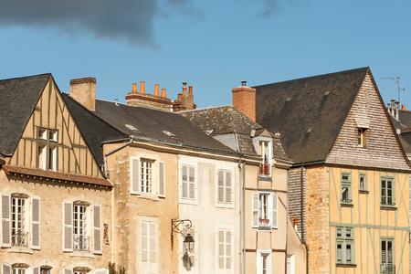 the loire: Medieval timberframe houses in  Le Mans Plantagenet city, Pays  de la Loire, France Stock Photo