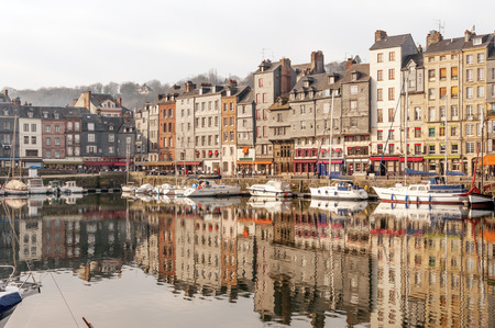 Picturesque old port of Honfleur in Normandy region of France 版權商用圖片