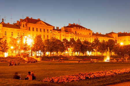 Popular King Tomislav Square at summer night, downtown Zagreb, Croatia
