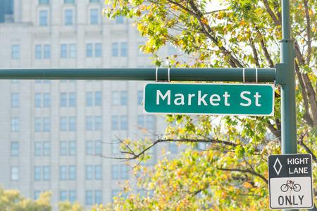 Market street sign, the principal street in Philadelphia downtown (center city), USA Stock Photo
