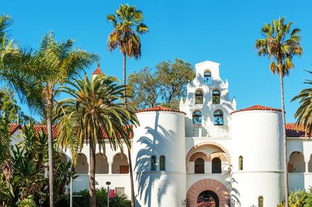 Hepner Hall housing School of Social Work, symbol of San Diego State University, California, USA