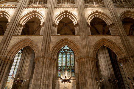 Gothic interior of famous Rouen Notre Dame cathedral, Normandy, France