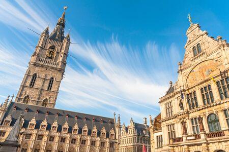 Belfry of Ghent, Cloth Hall and Royal Dutch Theater on Sint-Baafsplein square, Ghent, Belgium Zdjęcie Seryjne