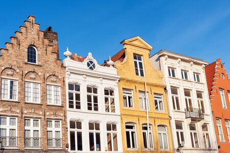 Colorful old merchant houses in historic center of Bruges, Belgium