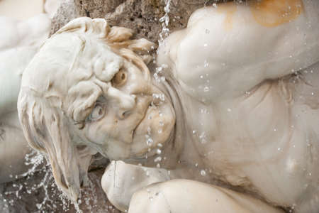 Exquisite detail of Power on Land fountain on Michaelerplatz by the Hofburg Palace in Inner City, Vienna, Austria Stockfoto
