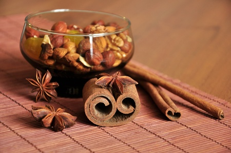 Mix of nuts, cinnamon sticks and anise photo