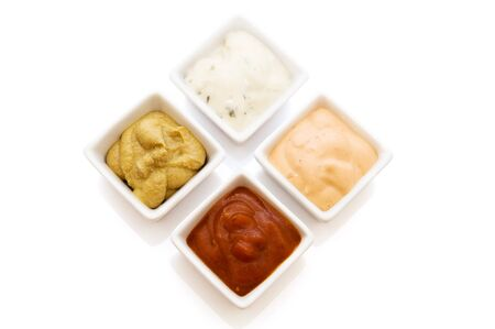 four sauce isolated on a white background