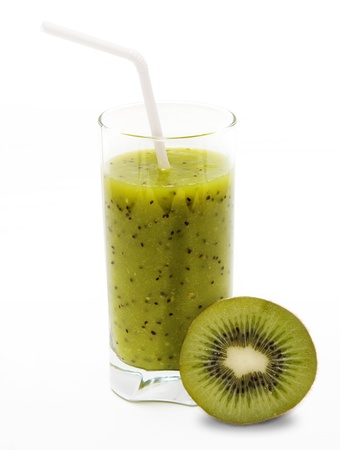 slurp: Healthy kiwi smoothie in glass with slice of kiwi  on light background