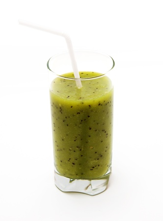Healthy kiwi smoothie in glass  on light background Stock Photo - 9565096