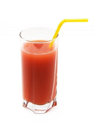 Healthy strawberry smoothie in glass  on light background photo