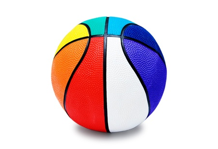 Childrens multi-colored basketball ball isolated on white background photo
