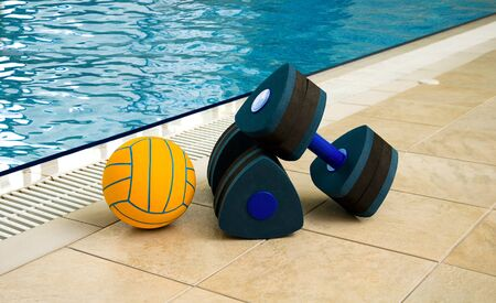 ball of water: Aqua Aerobics Dumbbells and Ball. Water Aerobics.