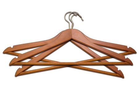 Three coat hangers on a white background photo