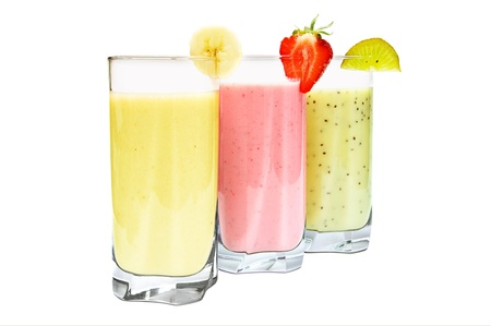 Various fruit smoothies isolated on a white background