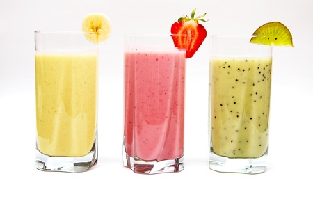 smoothie strawberry: Various fruit smoothies isolated on a white background