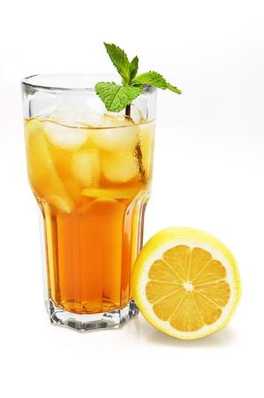Ice lemon tea isolated on white background photo