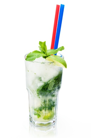 Cool refreshing summer cocktail isolated on a white background photo