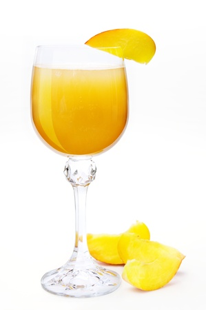 Bellini coctail with peach. Hand made clipping path included
