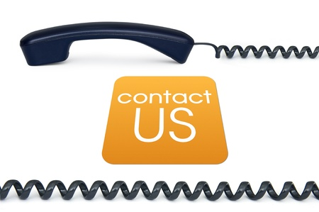 ordering: Black handset isolated on a white background with the sign contact us