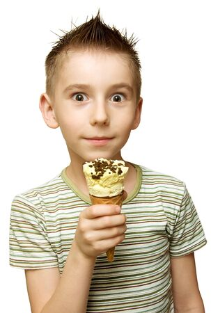 Surprised boy with ice cream in his hand isolated on white Stock Photo - 9771430
