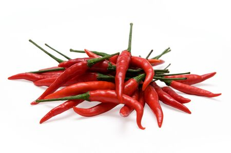 spicy plant: red chili peppers isolated on a white background Stock Photo