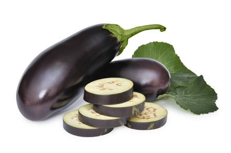 violaceous: ripe aubergine vegetable isolated on white background Stock Photo