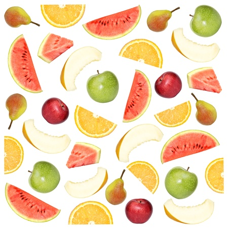 Fruity background. Collage of different fruits isolated on a white background photo
