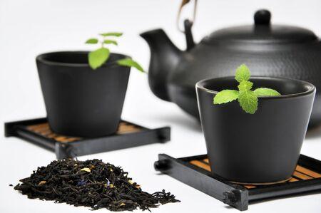 tea set: Chinese Tea Set with Teapot and cup Stock Photo
