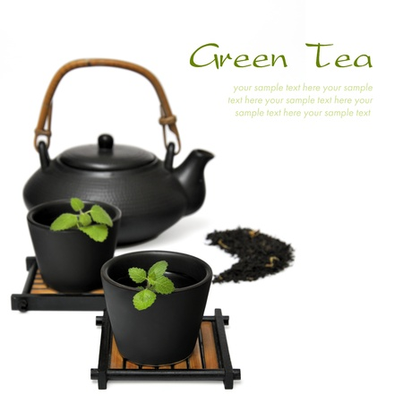 chinese teapot: Chinese Tea Set with Teapot and cup Stock Photo