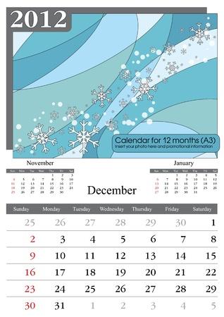 times new roman: December. 2012 Calendar. Times New Roman and Garamond fonts used. A3
