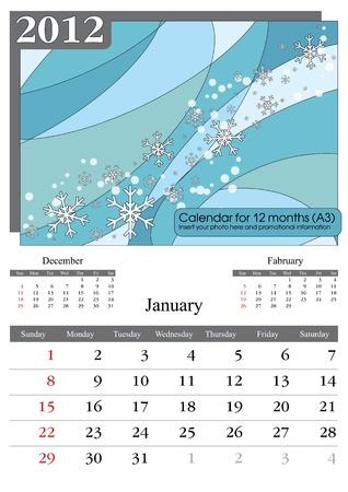 times new roman: Enero. Calendario de 2012. Times New Roman y Garamond fuentes utilizan. A3 Vectores