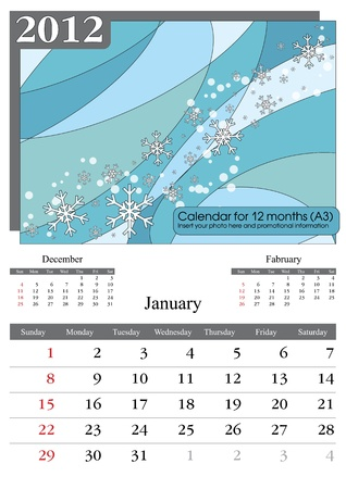 a3: January. 2012 Calendar. Times New Roman and Garamond fonts used. A3 Illustration