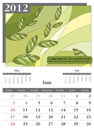 event planner: June. 2012 Calendar. Times New Roman and Garamond fonts used. A3 Illustration