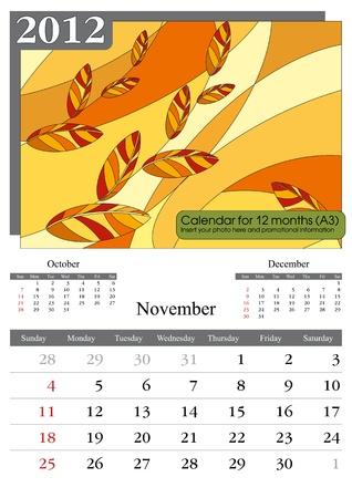 November. 2012 Calendar. Times New Roman and Garamond fonts used. A3