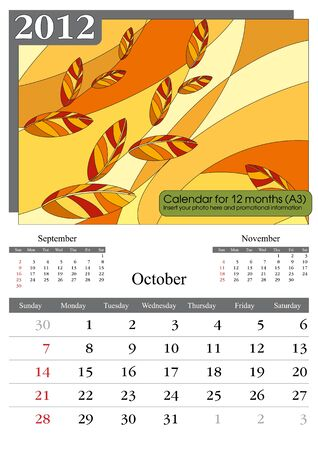 October. 2012 Calendar. Times New Roman and Garamond fonts used. A3
