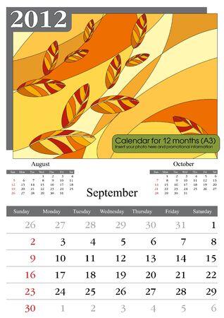 times new roman: Septiembre. Calendario de 2012. Tiempos nueva utilizan fuentes romanas y Garamond. A3 Vectores