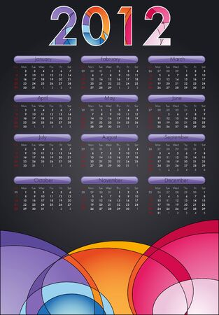 mon 12: This is a calendar for 2012. Starts sunday Colors can be changed in additional format. Illustration