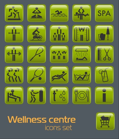 relaxation exercise: Wellness center icons set
