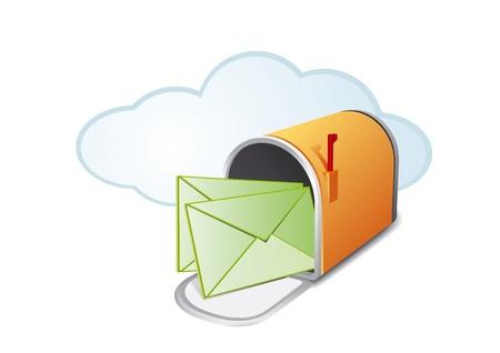 buzon de correos: abrir el buz�n de color naranja con dos letras en blanco