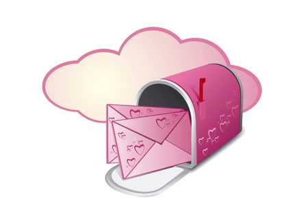 open pink mailbox with two letters over white Vector