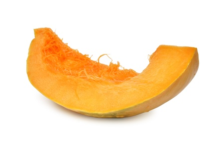 Slice of pumpkin isolated on white background photo